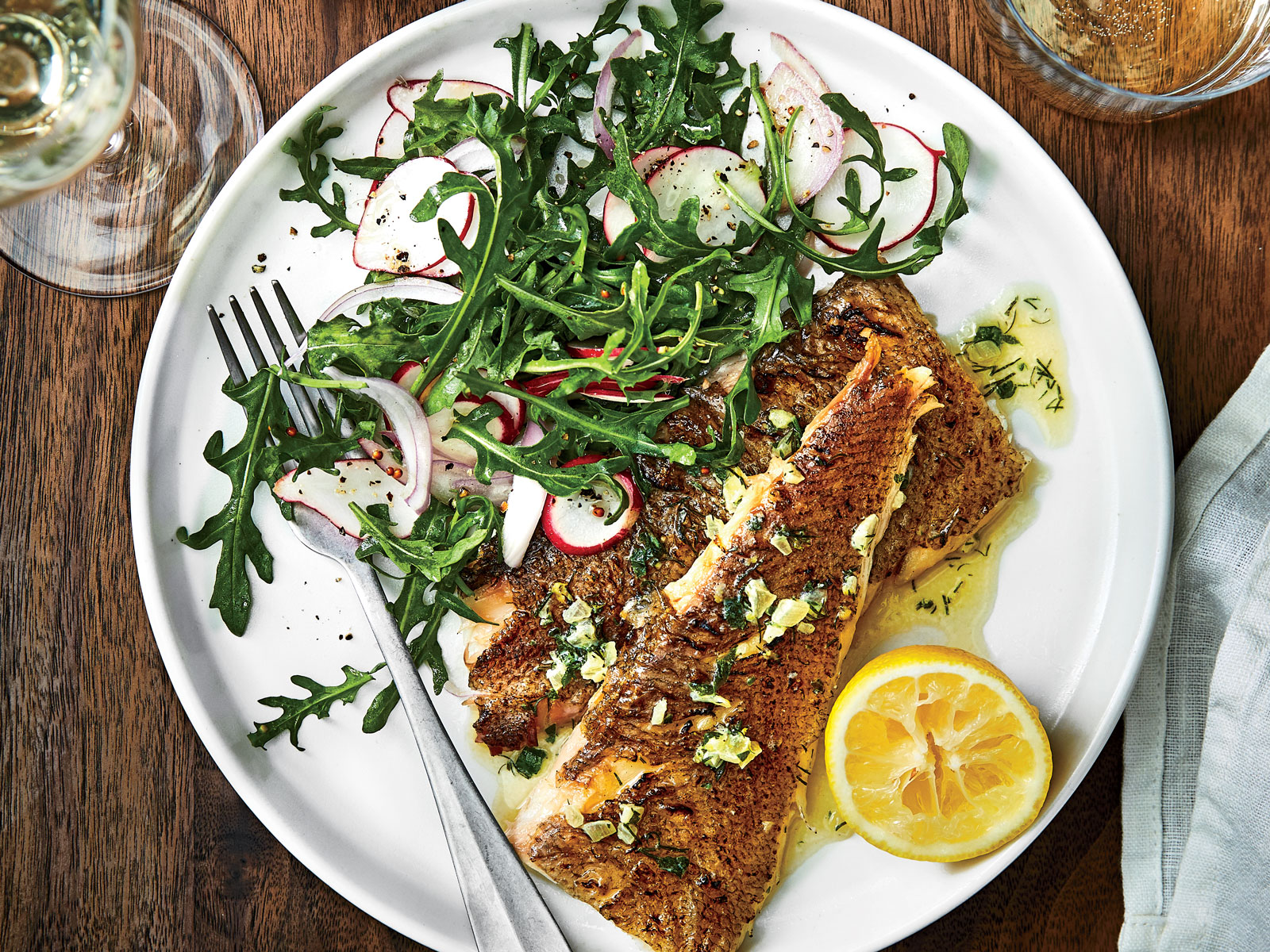 Grilled Whole Flatfish with Lemon-Herb Butter