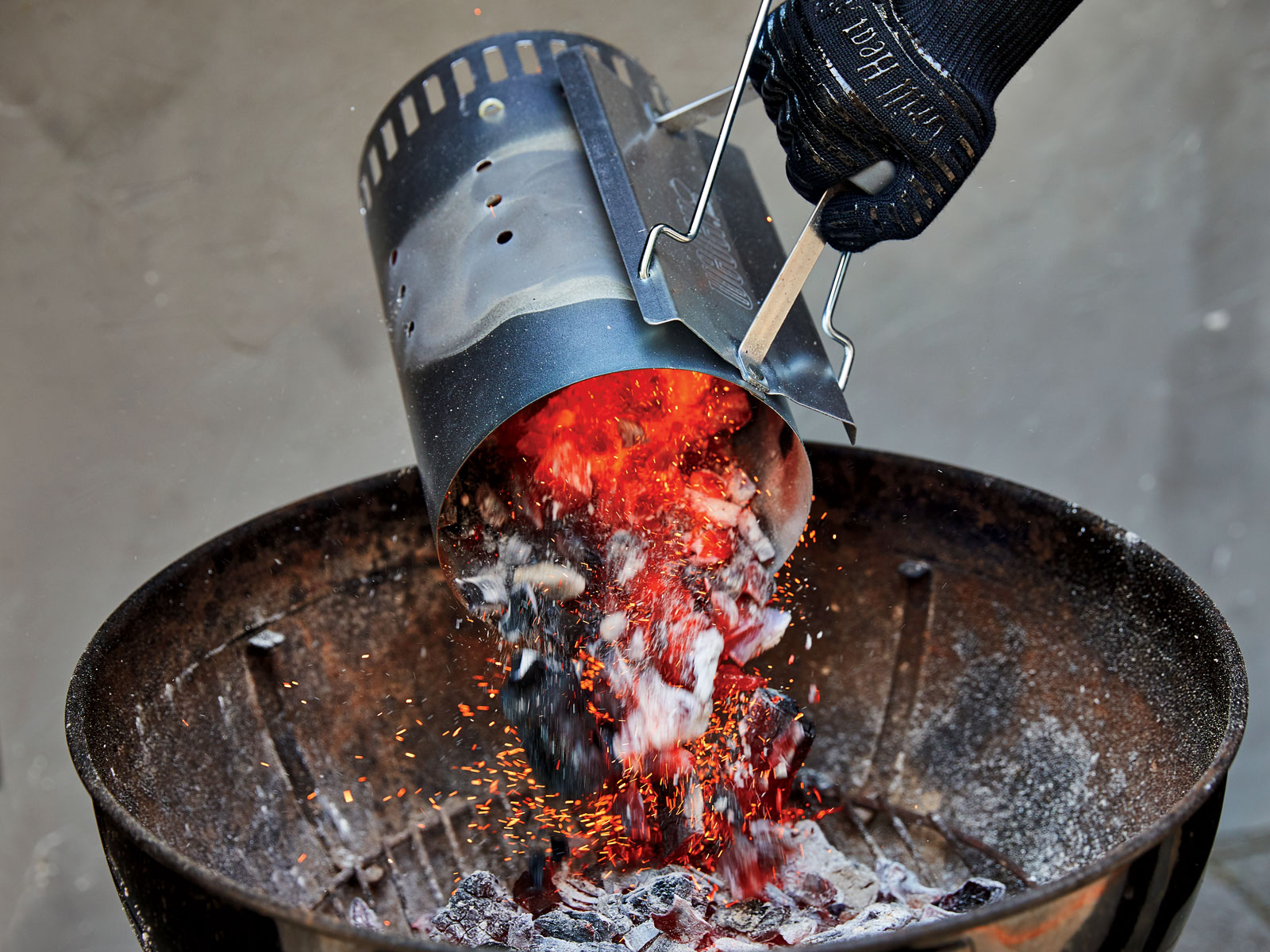 Pour Coals into Grill