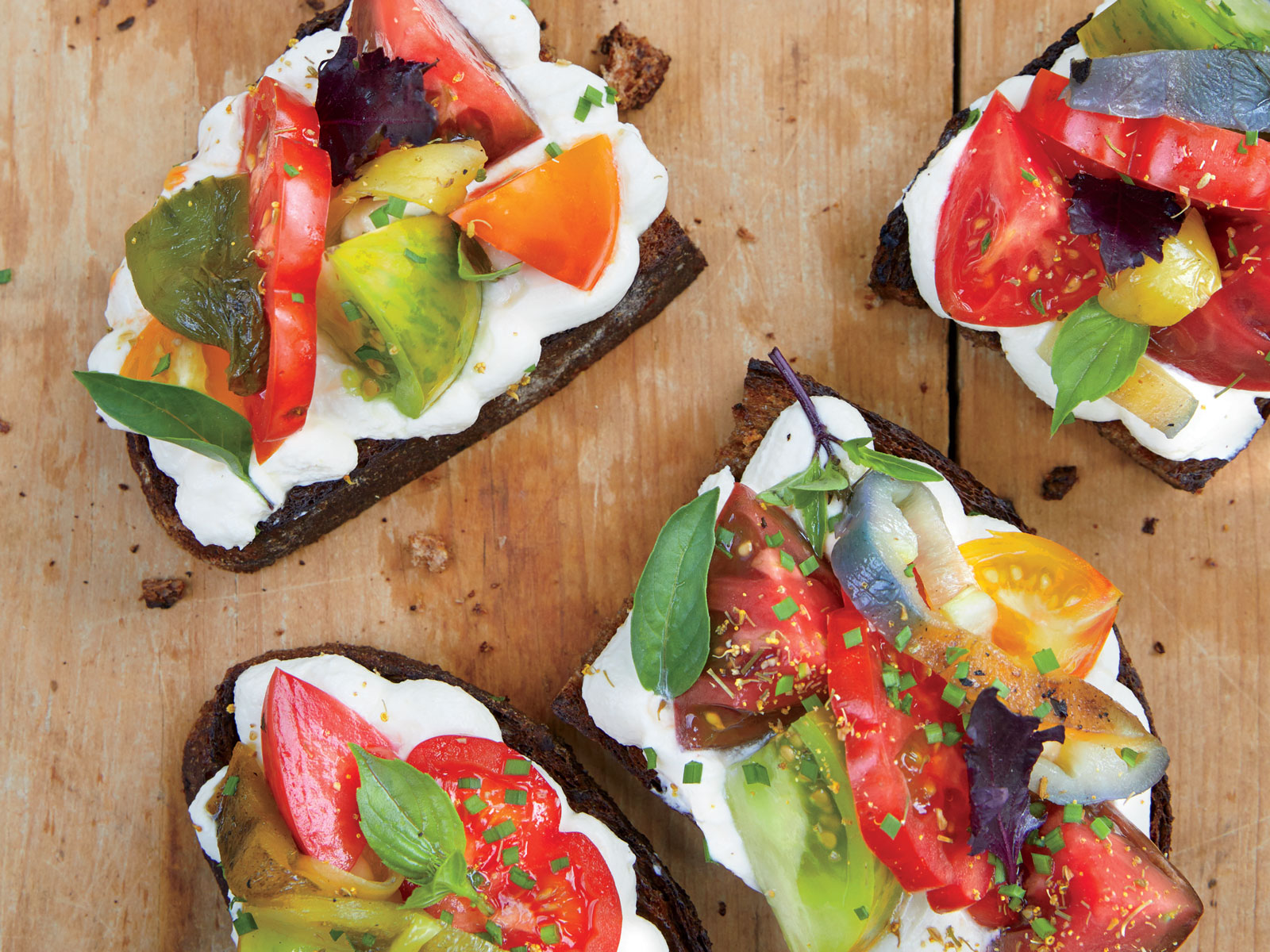 Heirloom Tomato and Pepper Toasts with Whipped Ricotta