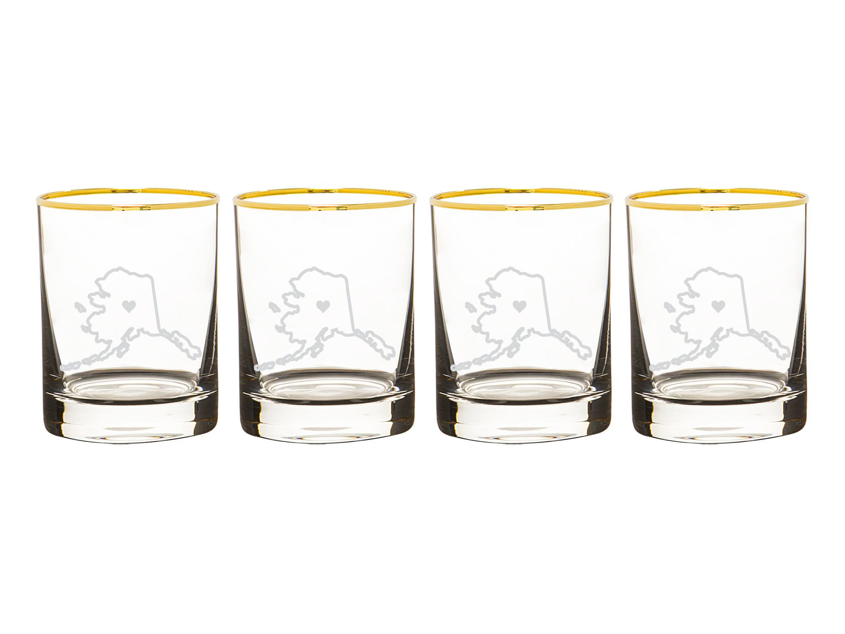 Cathy's Concepts State Love Set of 4 Gold Rimmed Whiskey Glasses