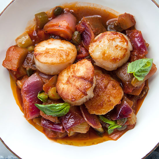 Pan-Fried Sea Scallops with Caponata (40 minutes)