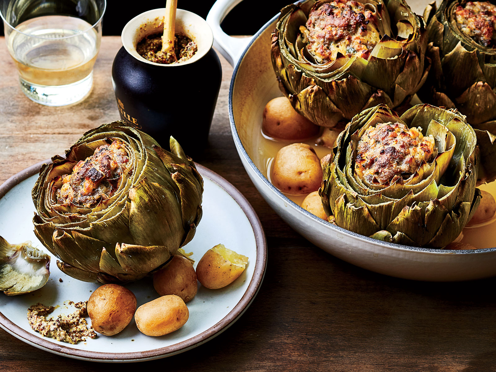 Sausage-Stuffed Artichokes with New Potatoes