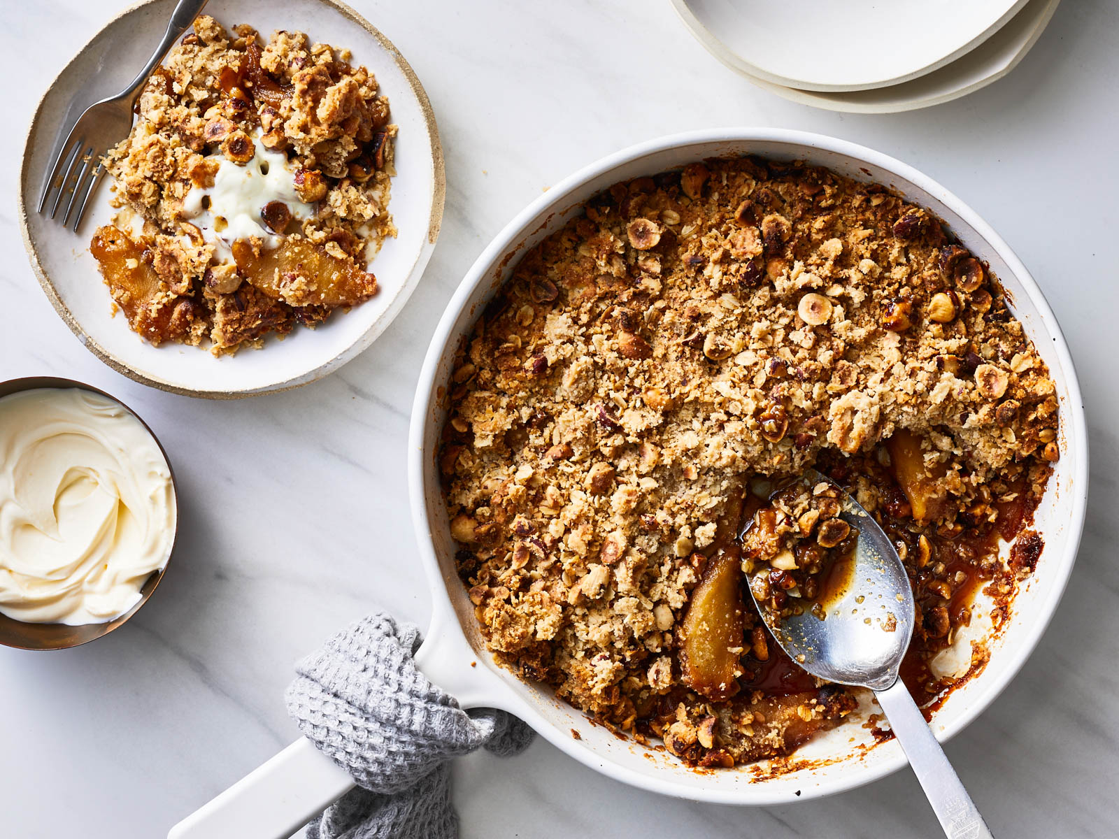 Brandied Apple Crisp with Hazelnuts