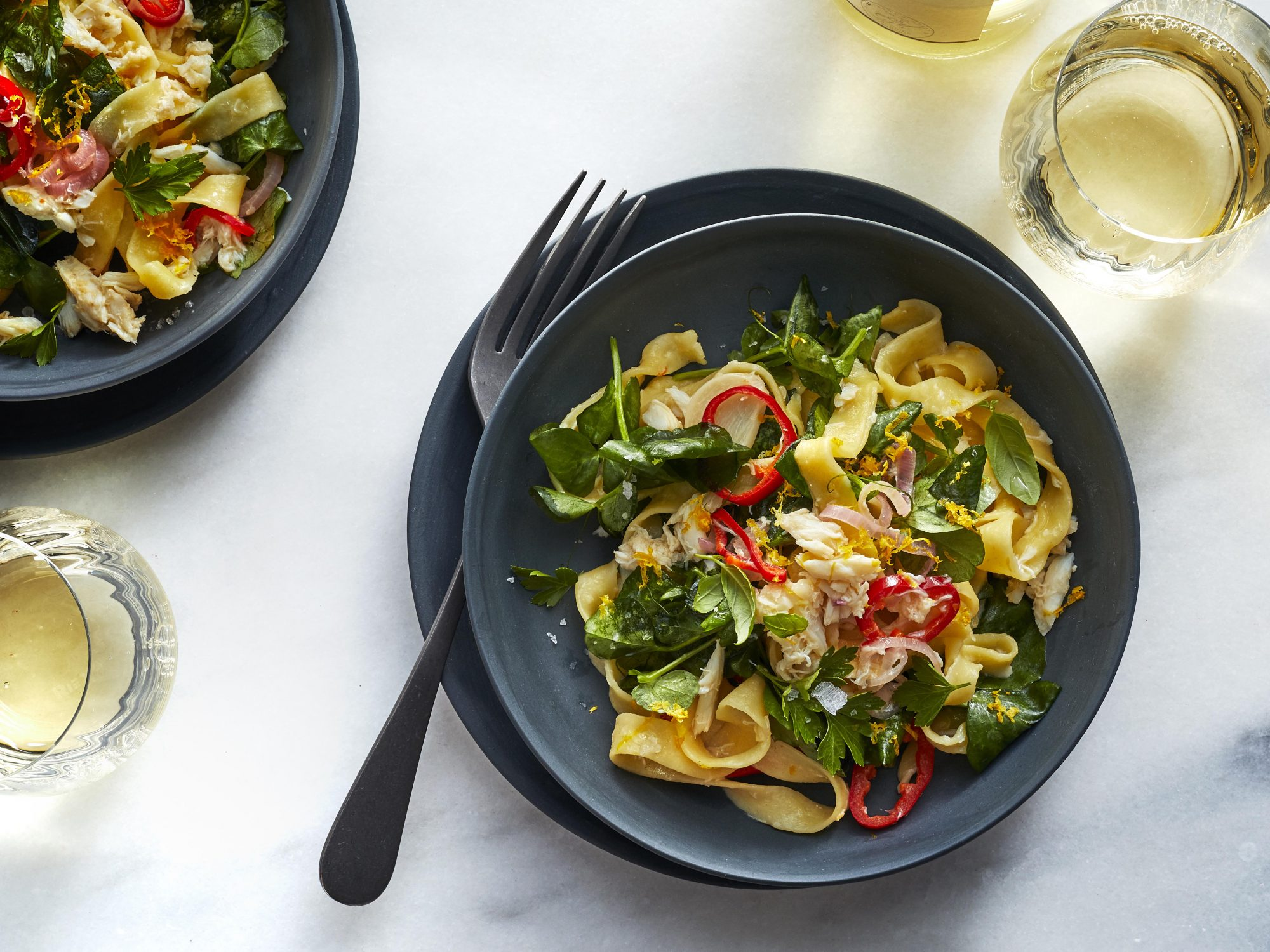 Tagliatelle with Crab, Pea Shoots, and Herbs