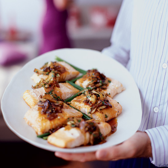 Broiled Bacon-Basted Salmon with Mushroom-Oyster Sauce