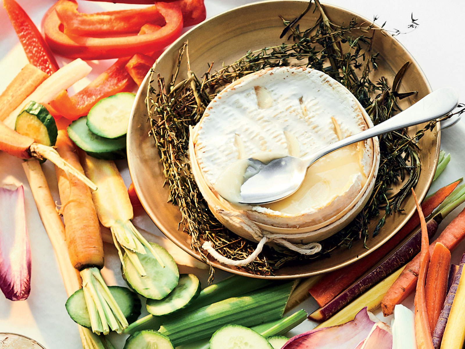 Baked Cheese with Herbs and Crudites Recipe