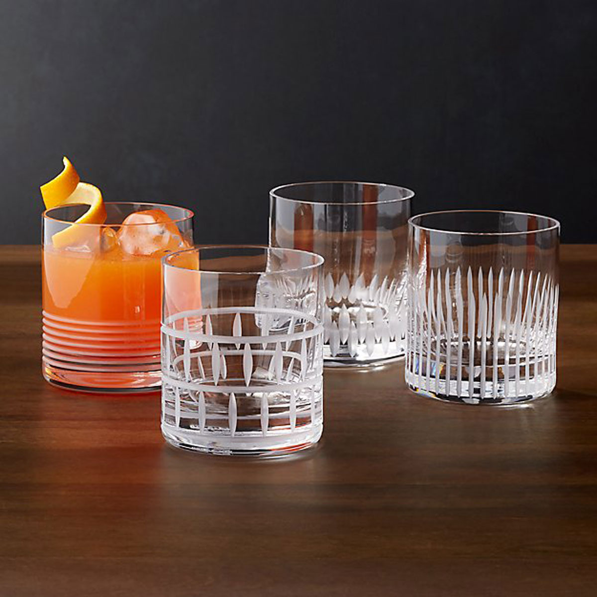Cut Glass Double Old-Fashioned Glasses, Set of 4