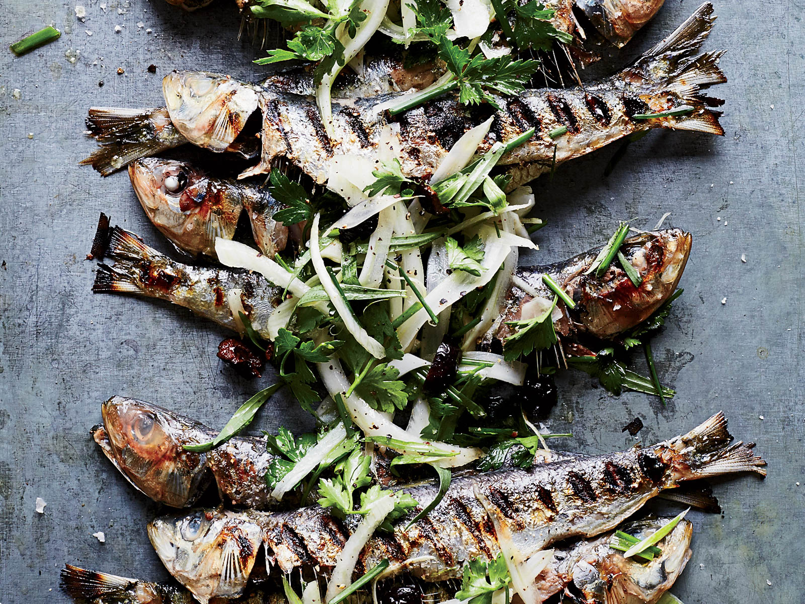 Grilled Sardines with Herbed Fennel and Olive Salad