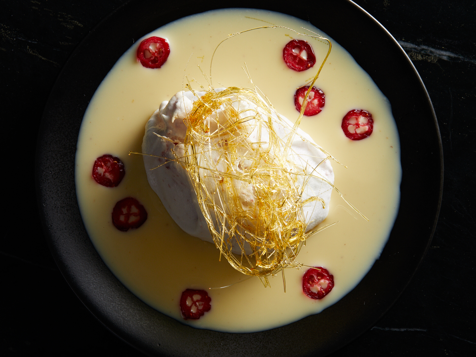Cranberry Ile Flottante with Nutmeg Anglaise Recipe