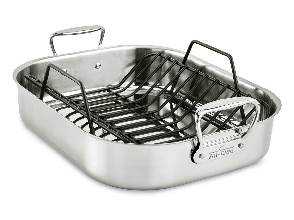 Large Stainless Steel Roasting Pan & Roaster Rack