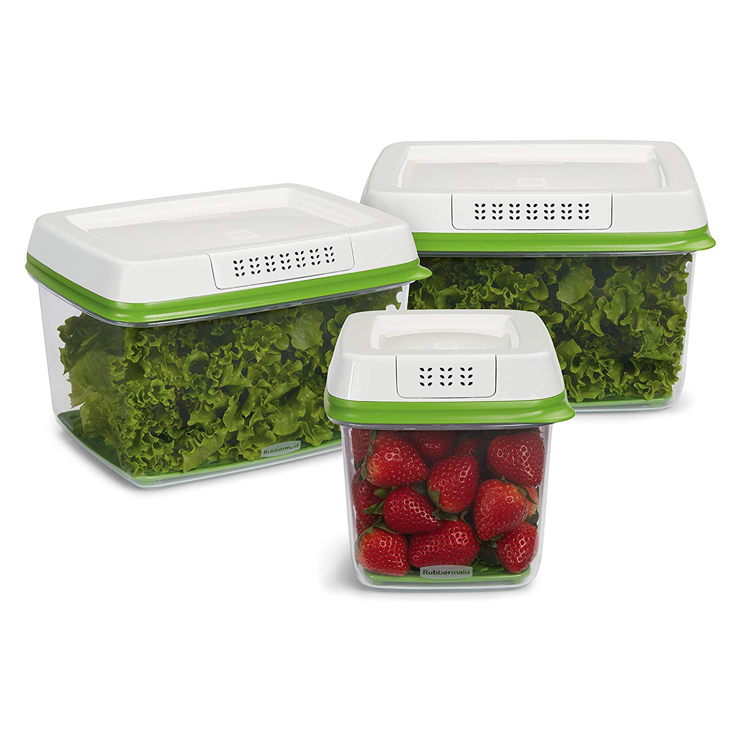 Rubbermaid FreshWorks Produce Saver Food Storage Containers Three-Piece Set