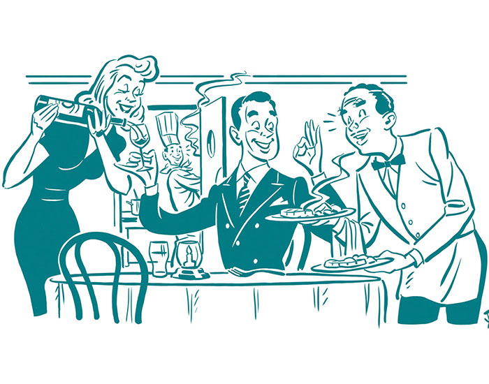 The New Rules of Dining Out illustration of diners in a restaurant