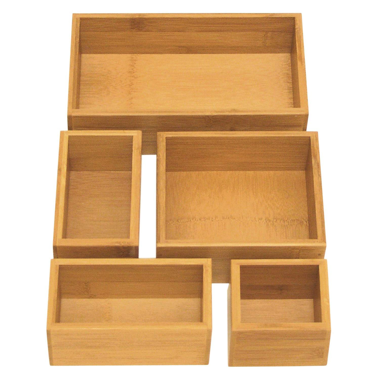 Seville Classics Five-Piece Bamboo Storage Set