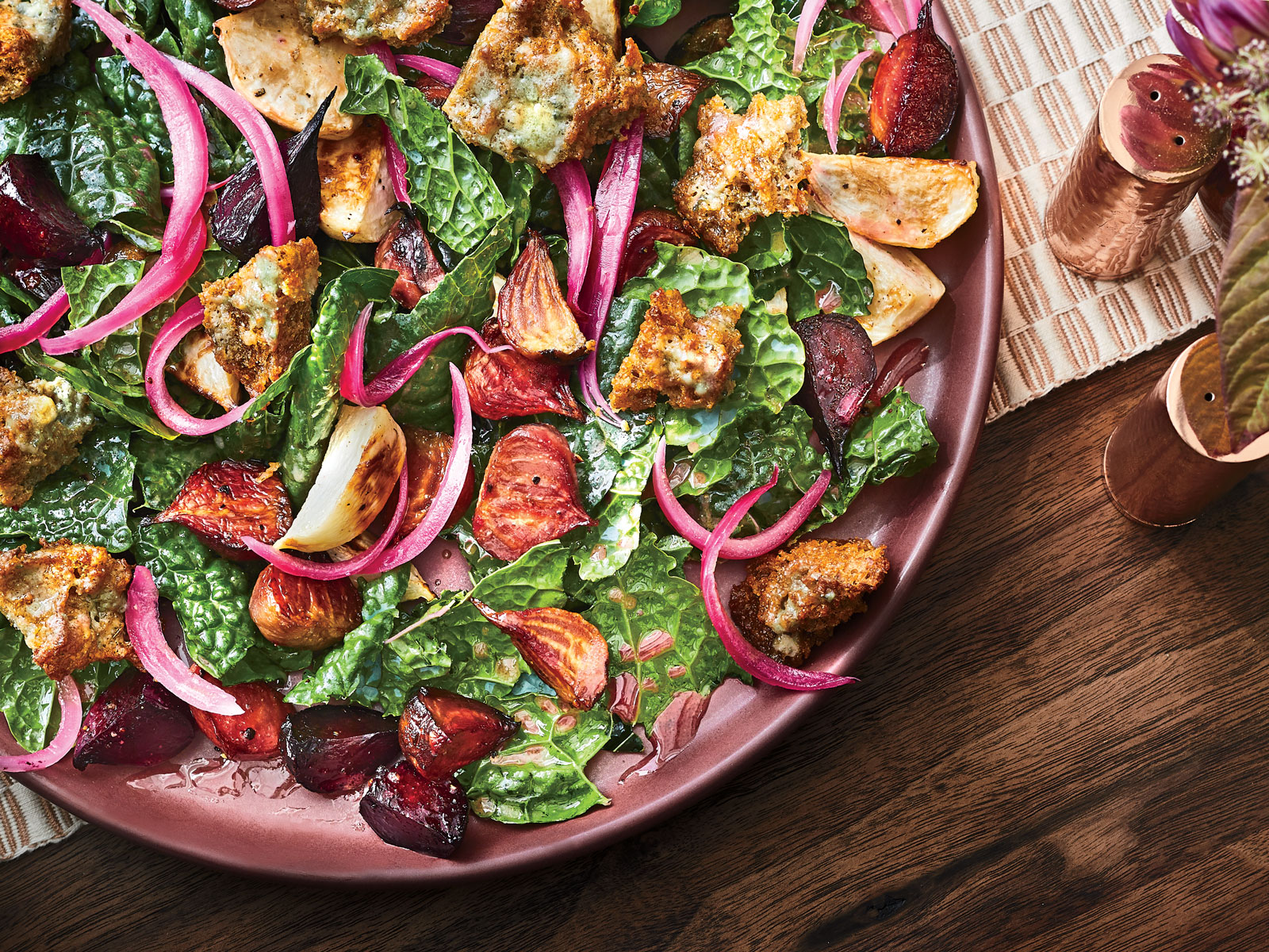 Tuscan Kale Salad with Gorgonzola Croutons Recipe