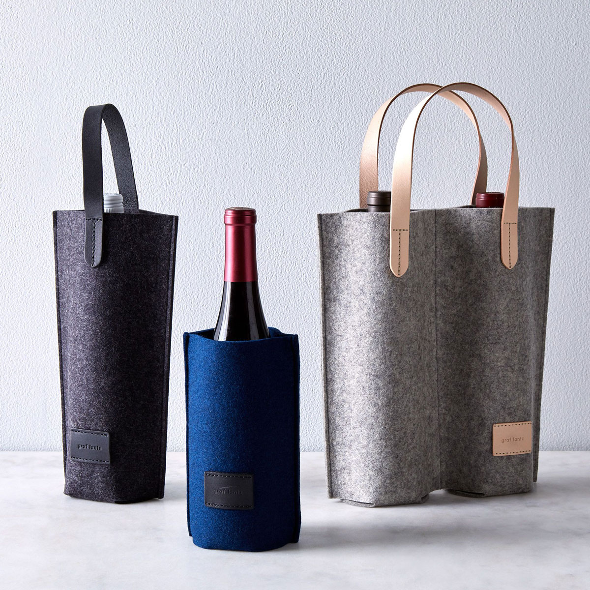 felt wine carriers