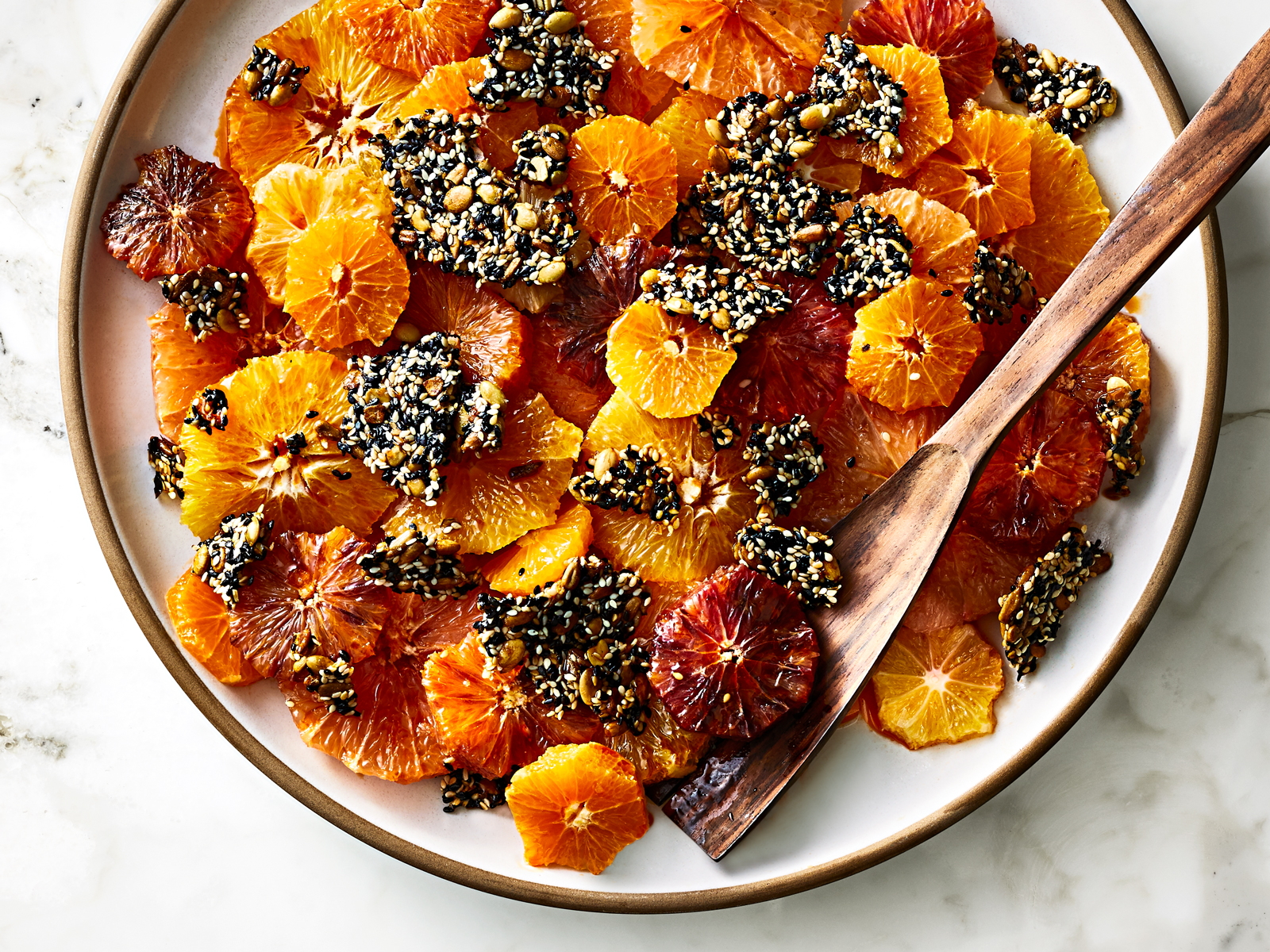 Roasted Citrus with Crunchy Three-Seed Brittle