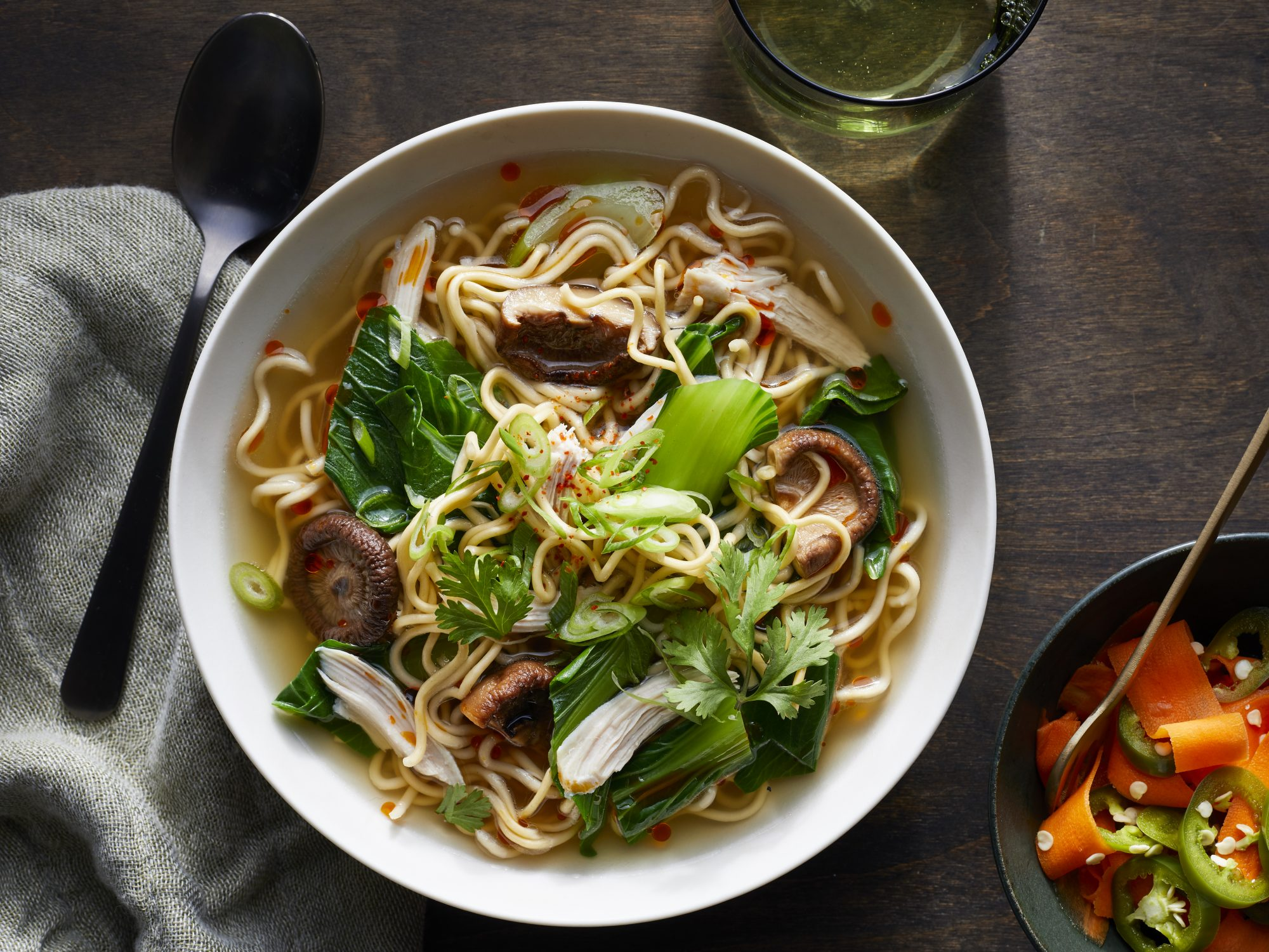Leftover Roasted Turkey and Chinese Egg Noodle Soup