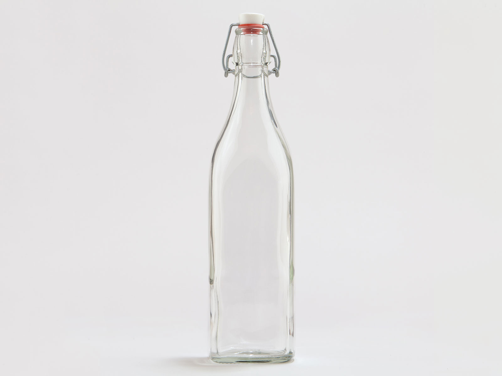 Square Glass Bottle With Clamp Stopper