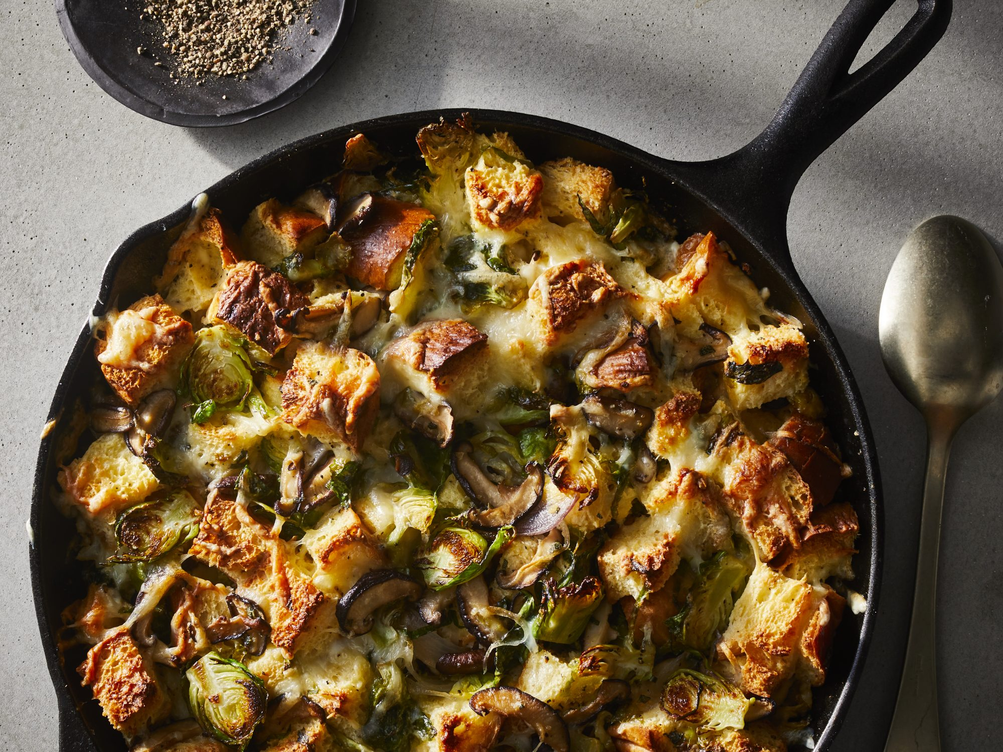 Cheesy Brussels Sprouts Bread Pudding