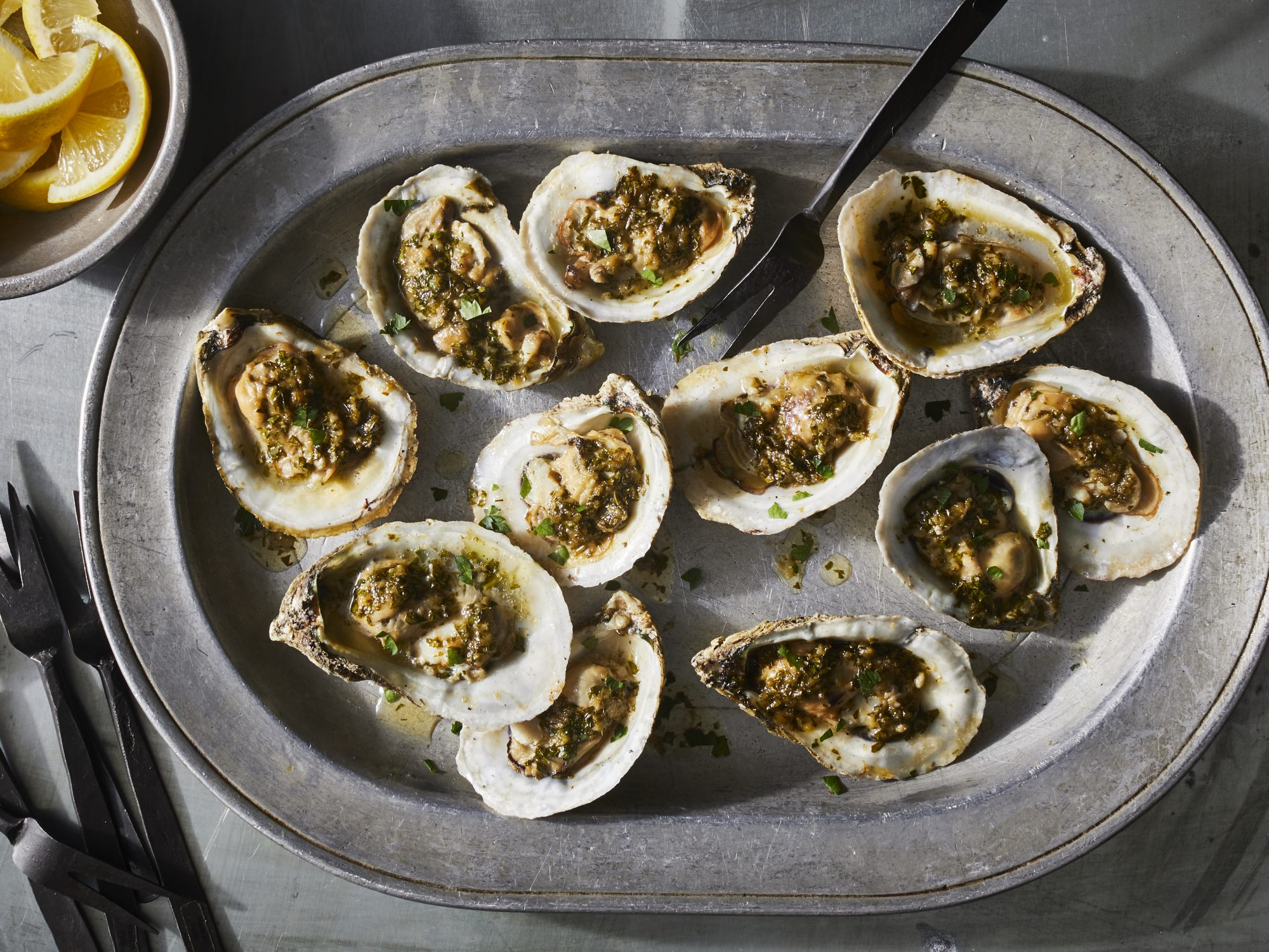 Barely Grilled Oysters with Sherried Garlic Butter