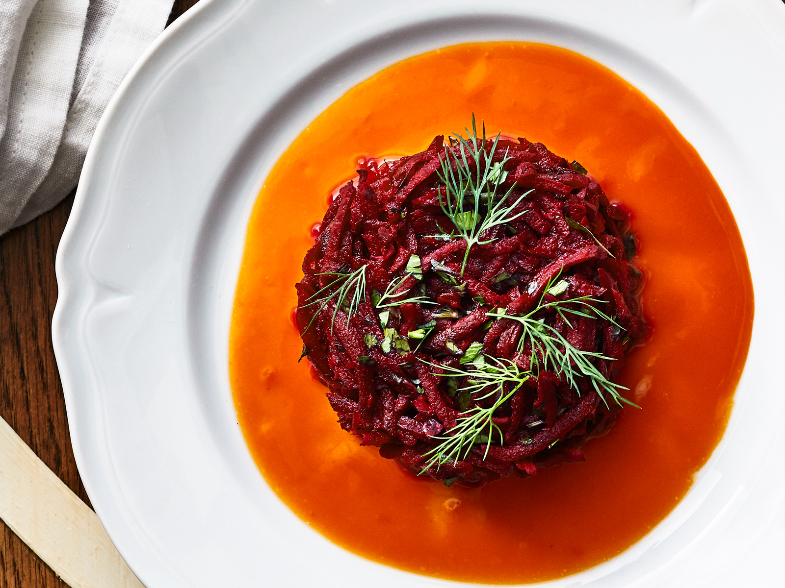 Beet-and-Horseradish Tartare with Fresh Carrot Sauce
