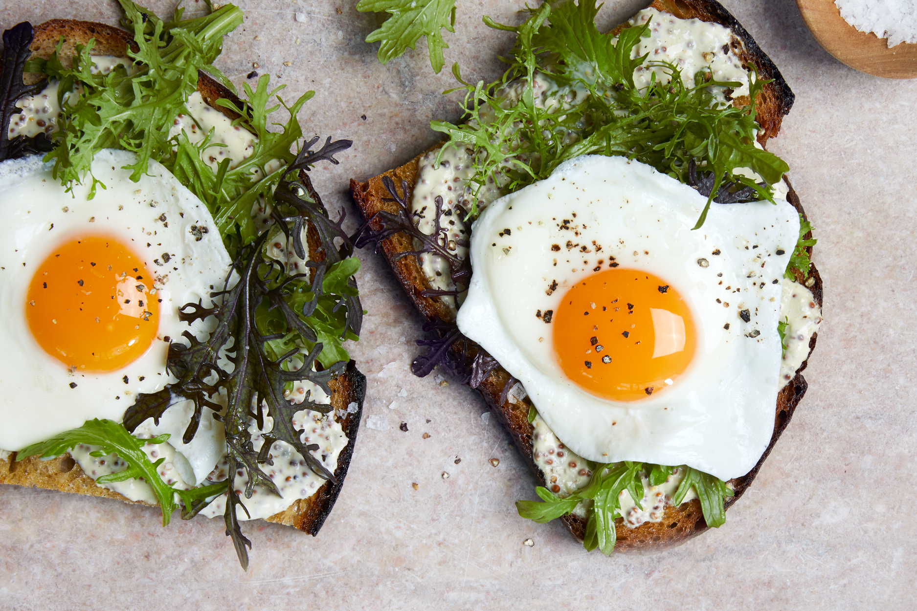 Basted Egg Tartines with Creamed Mustard Recipe