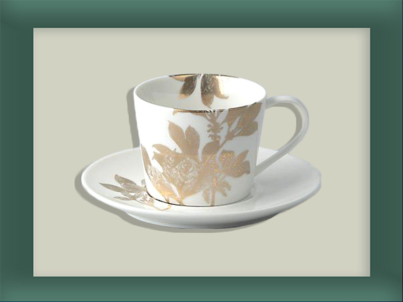 Anthropologie Gold Flower Tea Cup