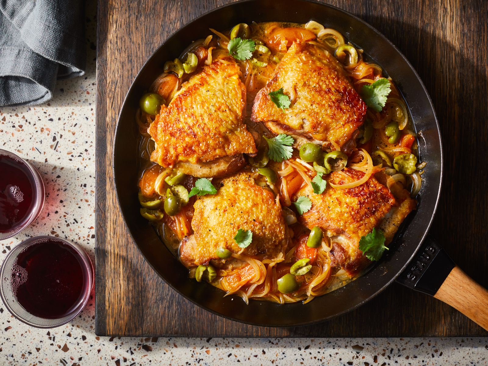 Braised Chicken Thighs with Olives and Apricots