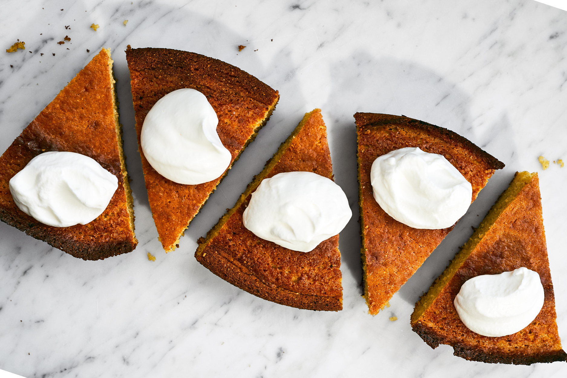 Cast-Iron Cornmeal Cake with Buttermilk Cream