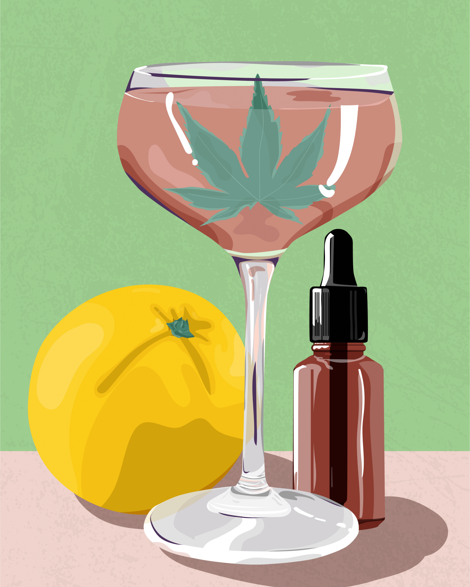 Cannabis Cocktail Illustration
