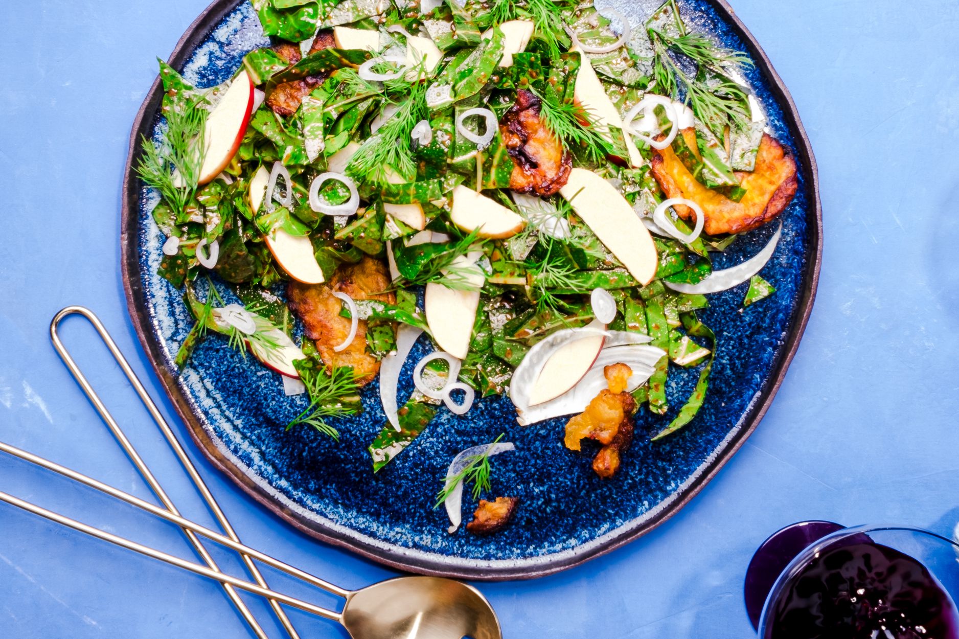 Collard and Fennel Salad with Crispy Plantains