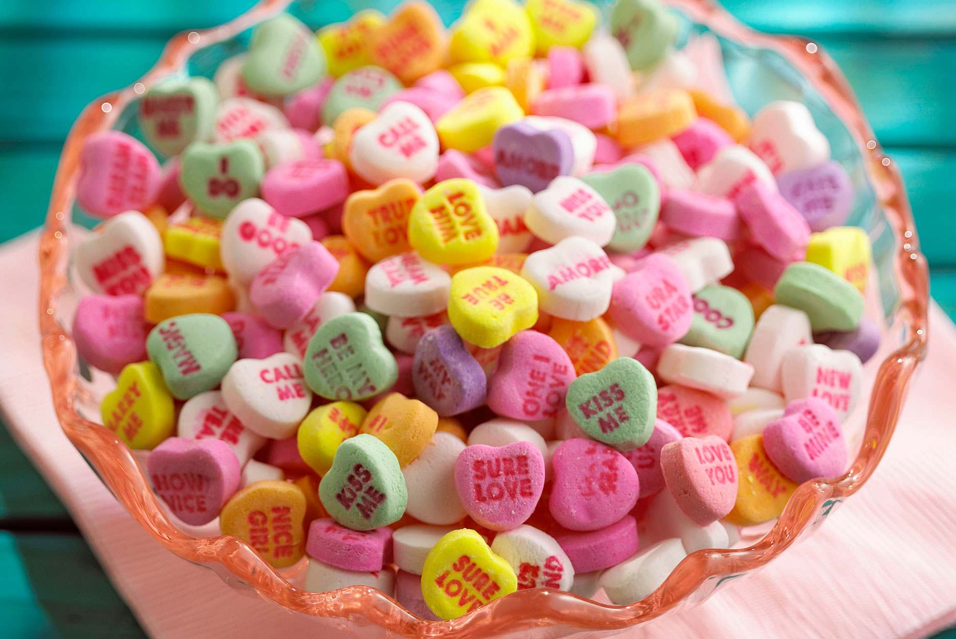 a bowl of candy hearts