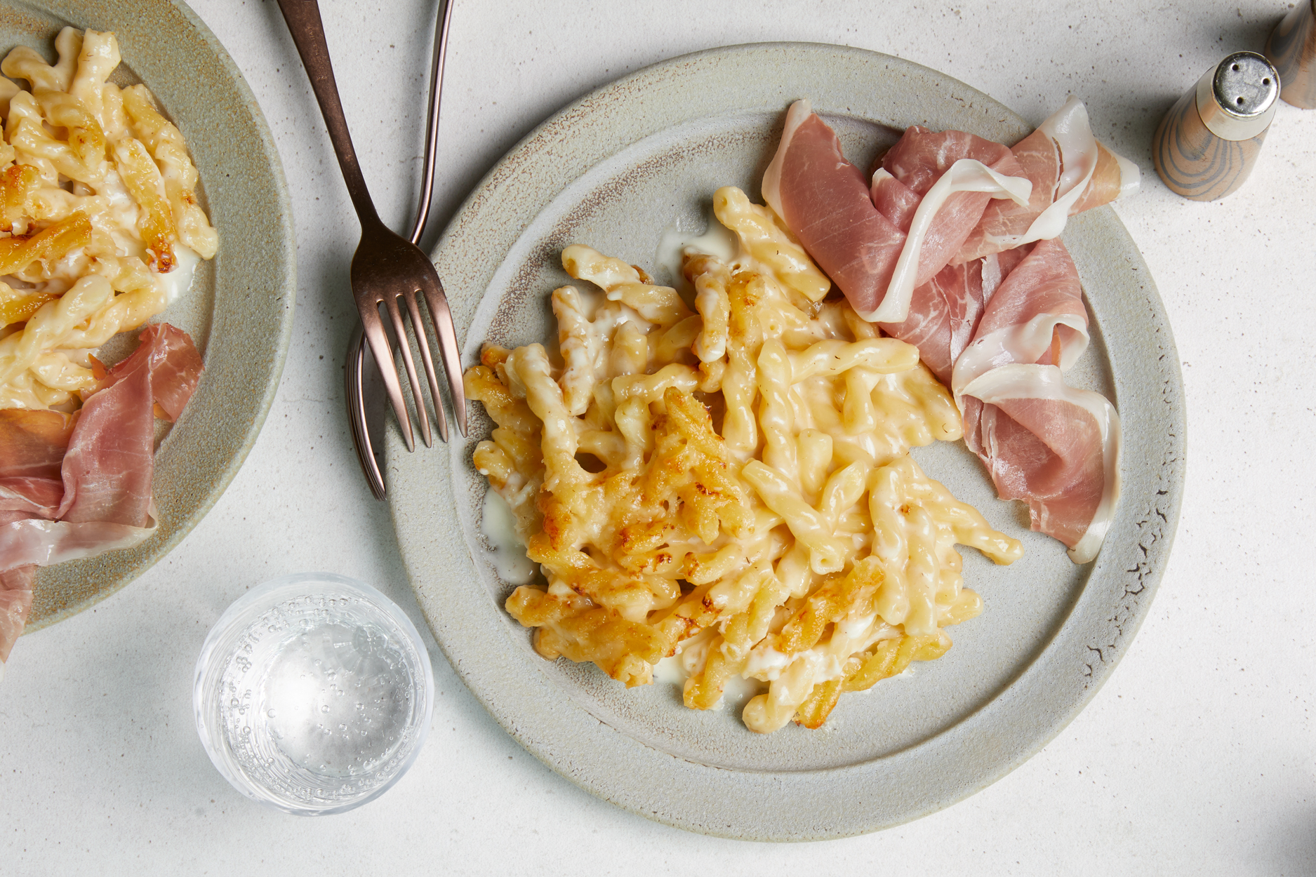 Creamy Baked Pasta with Gruyere and Prosciutto