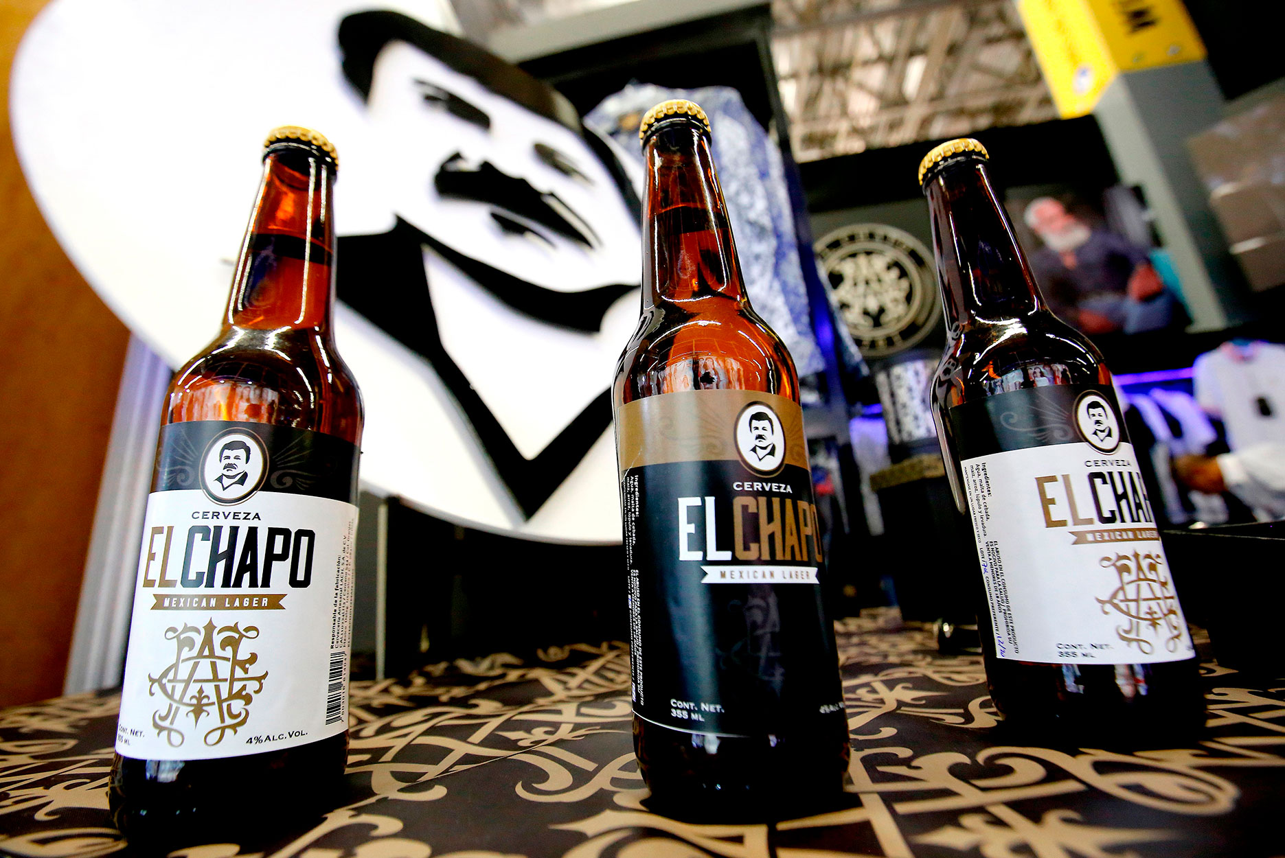 Three bottles of El Chapo beer