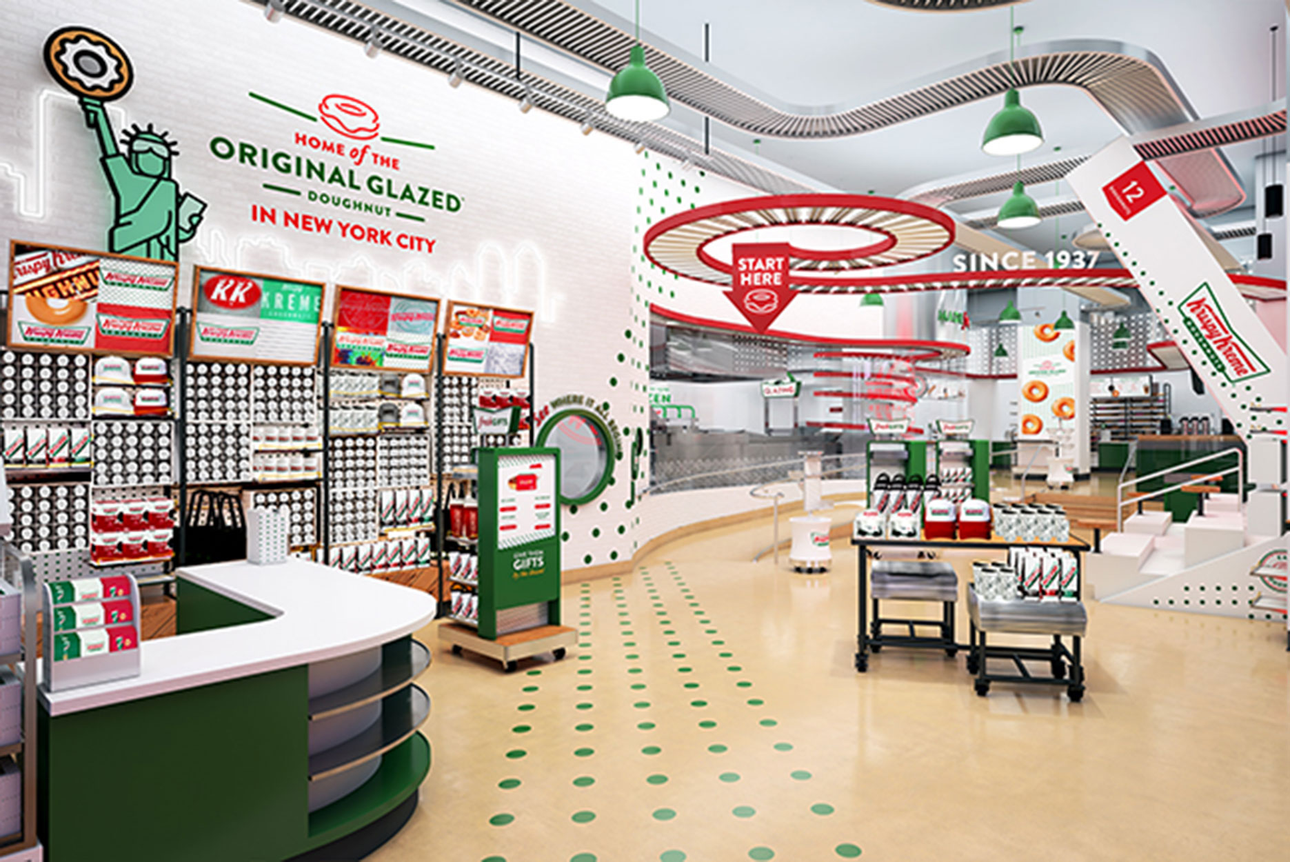 A rendering of the interior of the Krispy Kreme store in Times Square