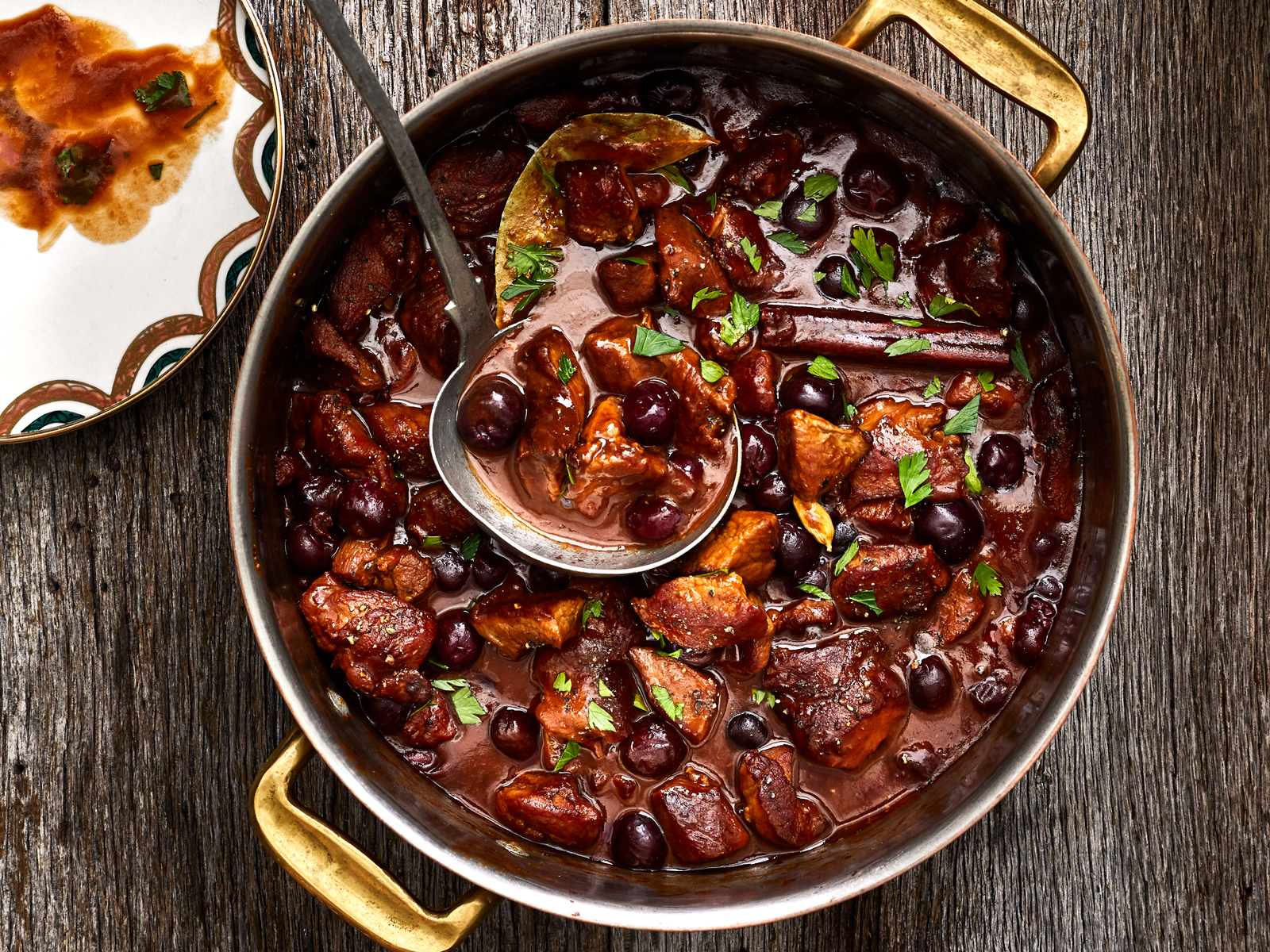 Oven-Braised Veal Stew with Black Pepper and Cherries