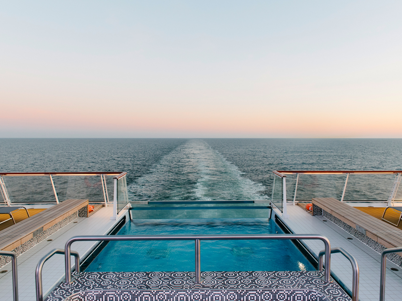 The infinity pool on board the Viking Jupiter, where the Nordic spa is included in your fare