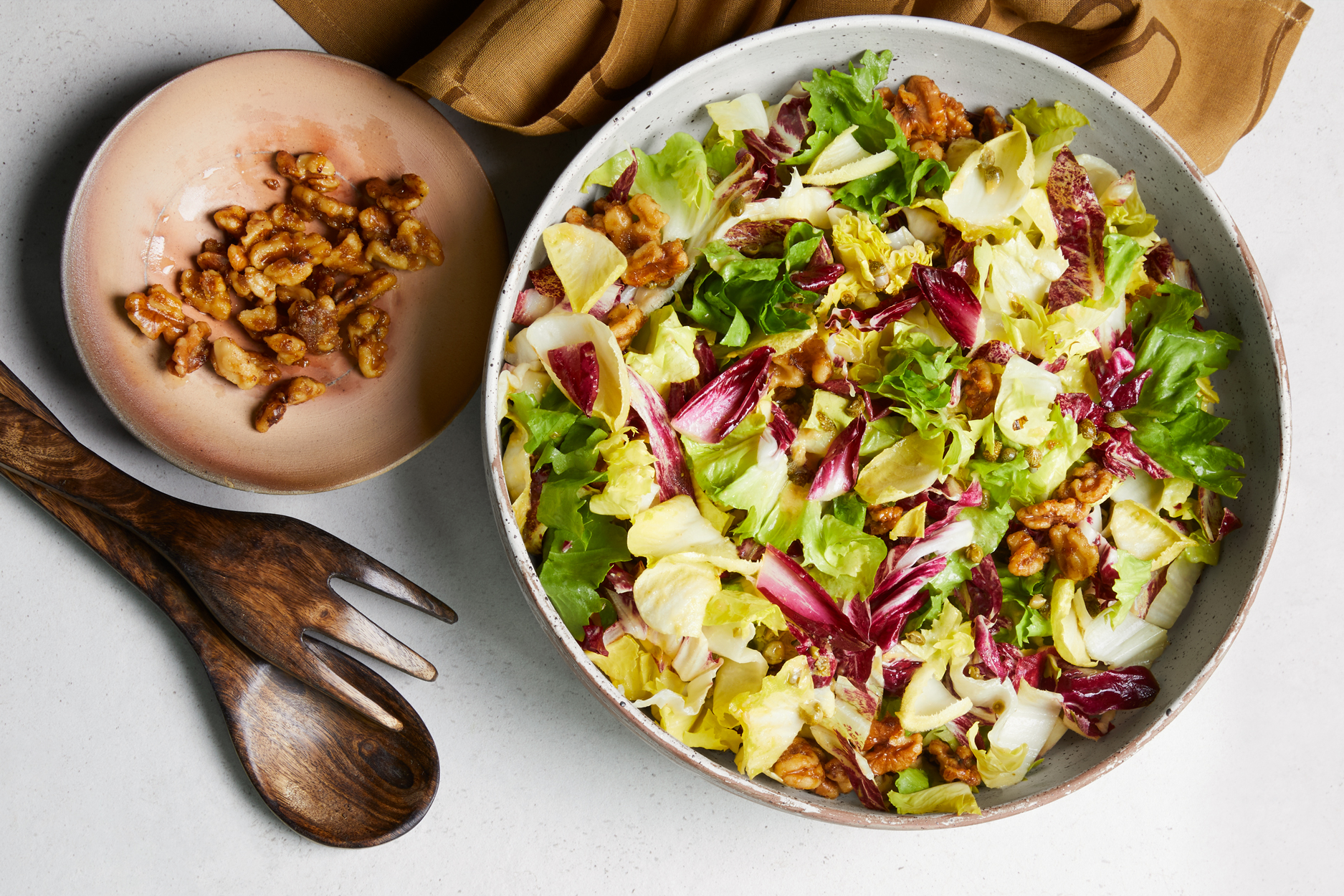 Vegan Caesar Salad with Chicories and Walnuts
