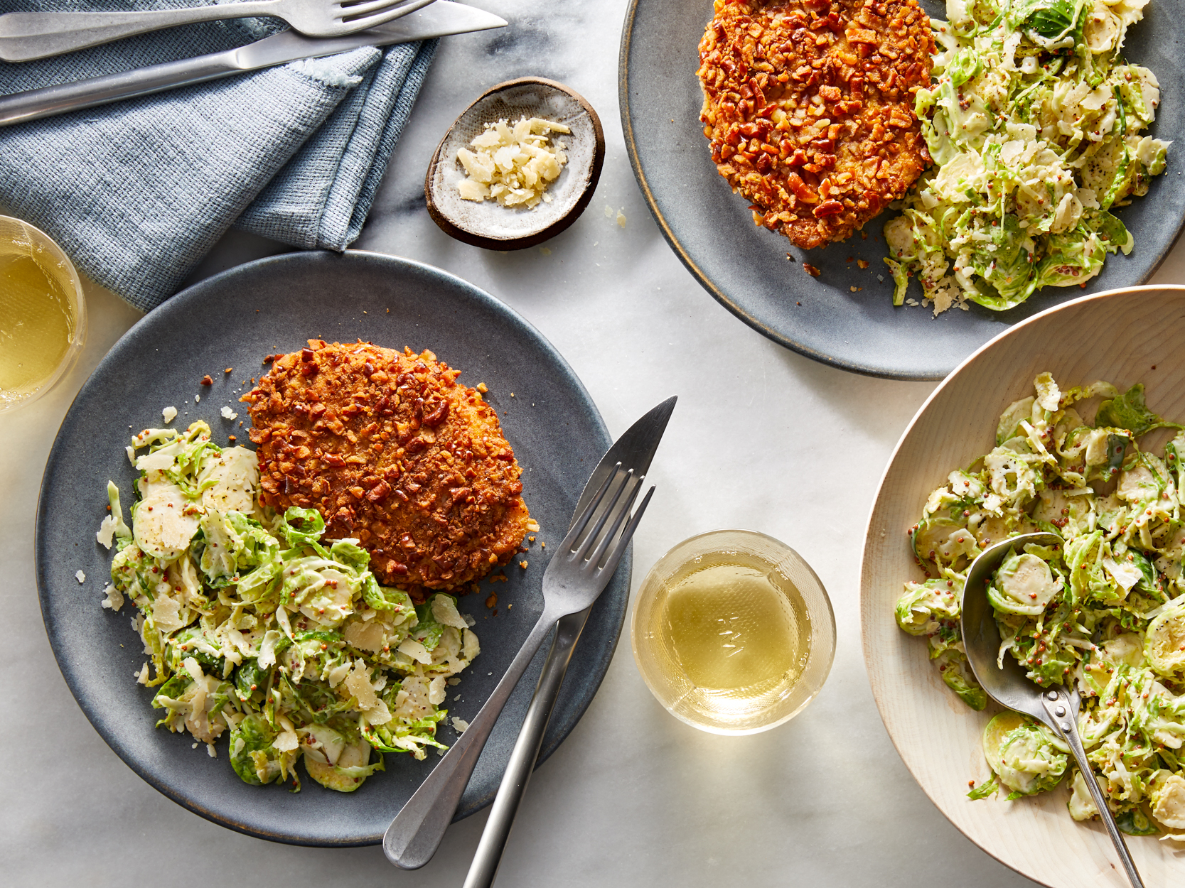 Pretzel Schnitzel with Mustardy Brussels Sprouts Slaw