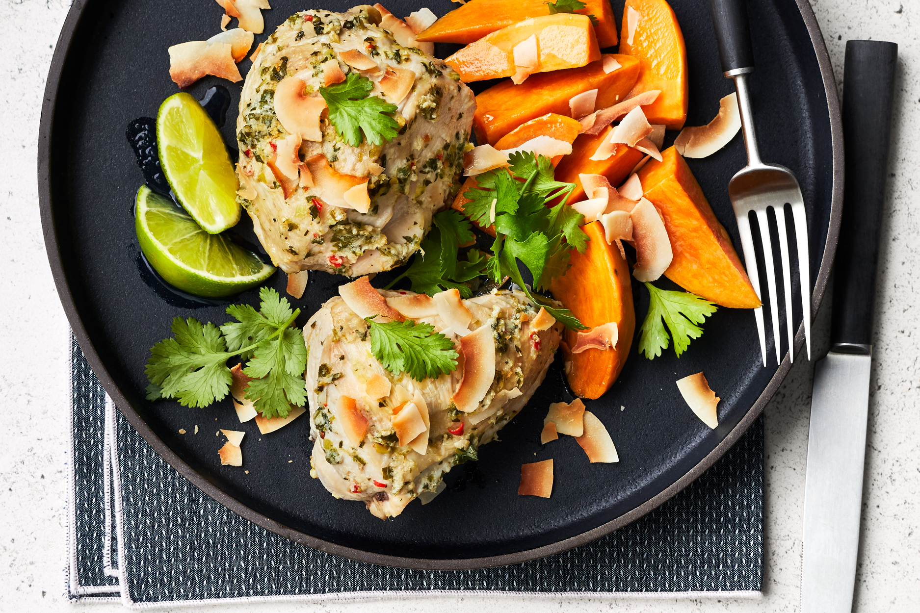 Coconut-Scented Chicken with Sweet Potatoes