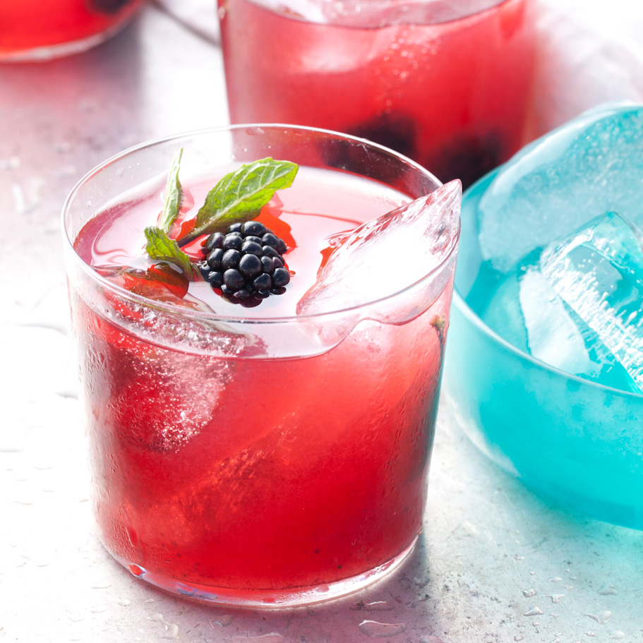 Adding blackberries to a mint julep adds fruity flavor to the classic warm-weather cocktail.