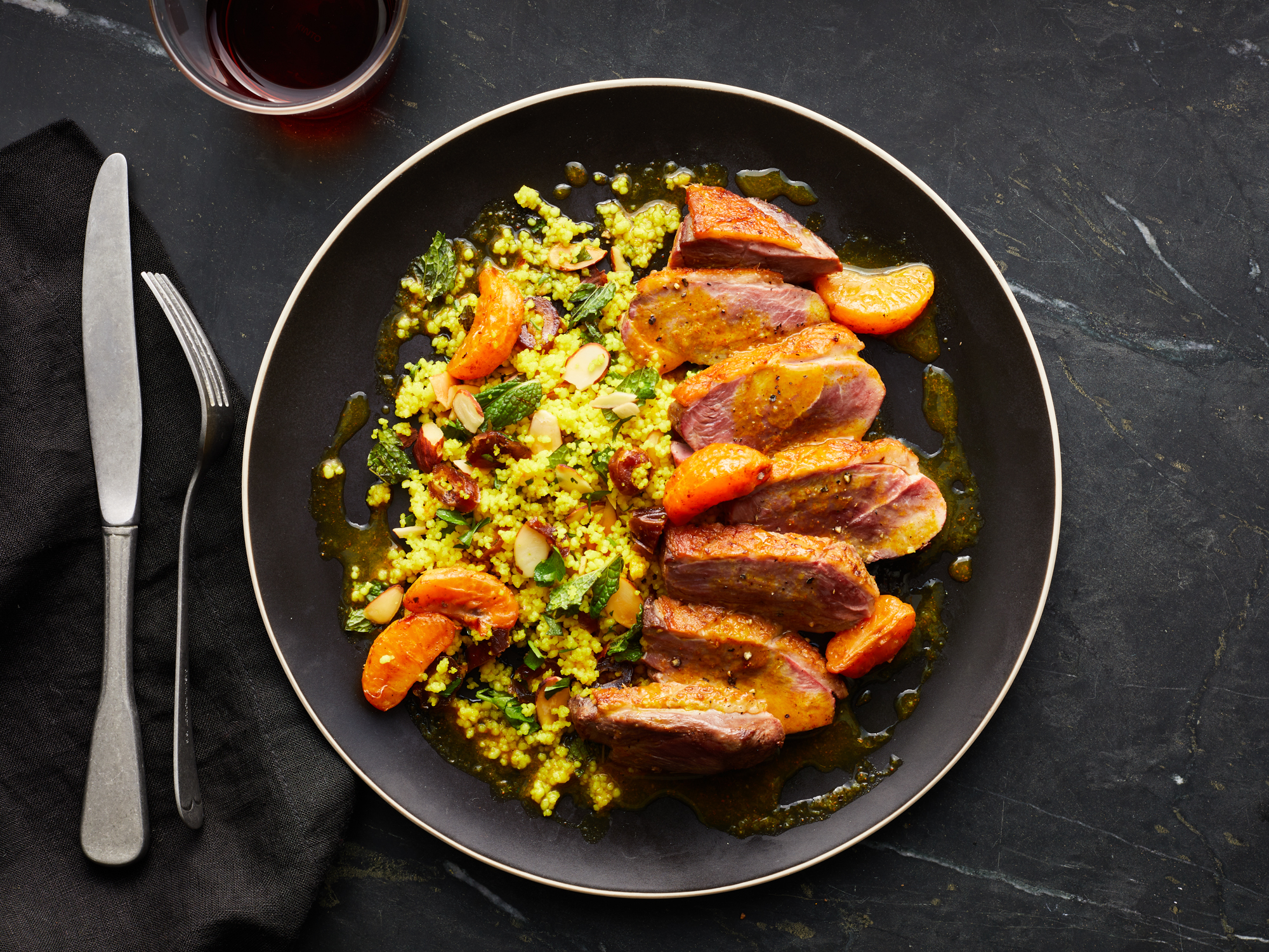 Spiced Duck Breasts with Mandarin Oranges and Dates