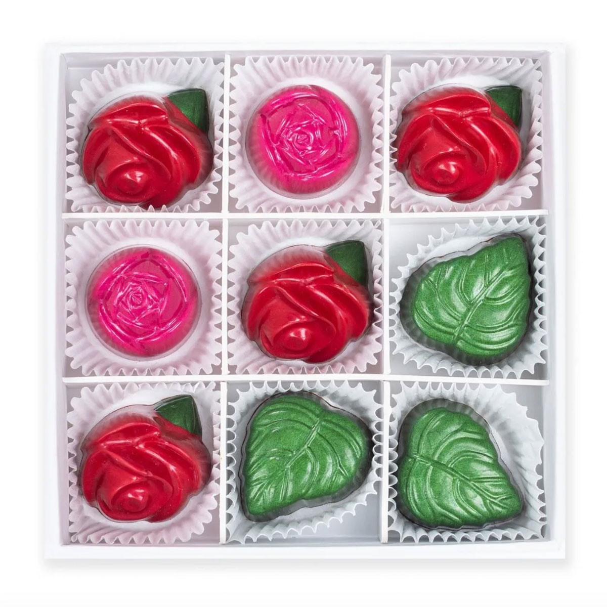 Maggie Louise is know for perfectly molded and quirky chocolate shapes, like these dark chocolate roses with peppermint mocha mint leaves.Rose Chocolates Set, $48 at maggielouise.com