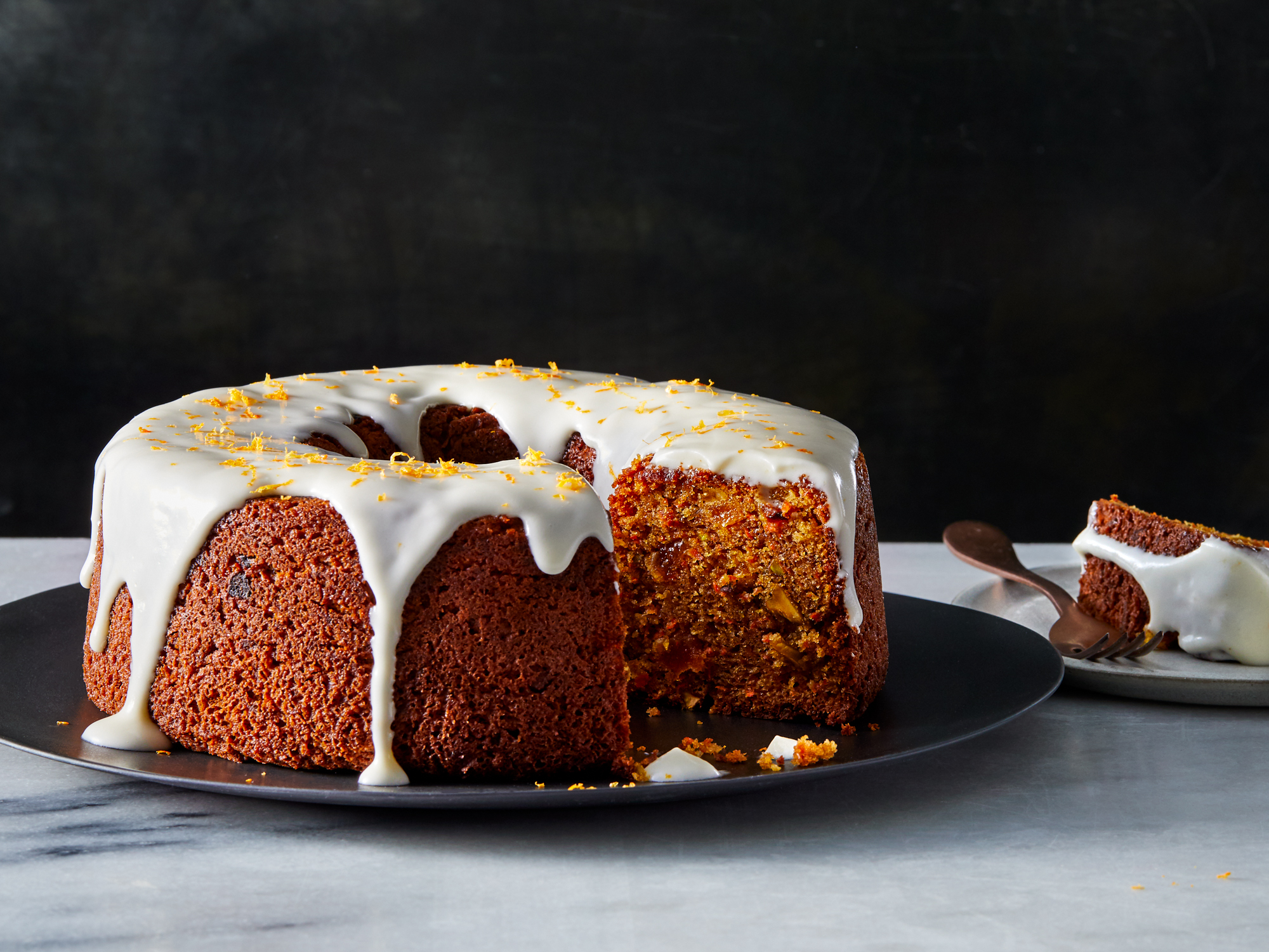 Carrot and Orange Cake with Sour Cream Glaze