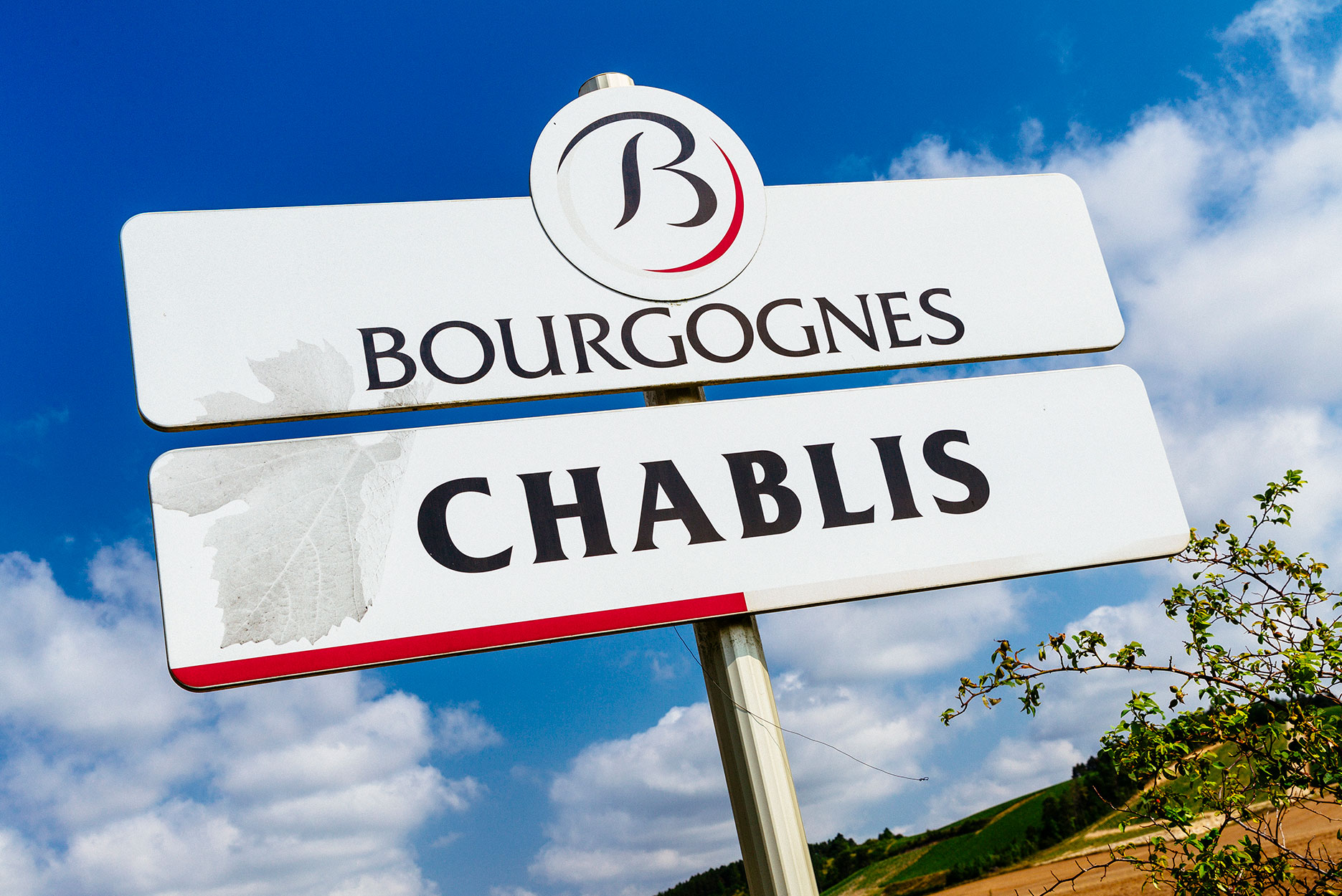 Road sign for Chablis, France