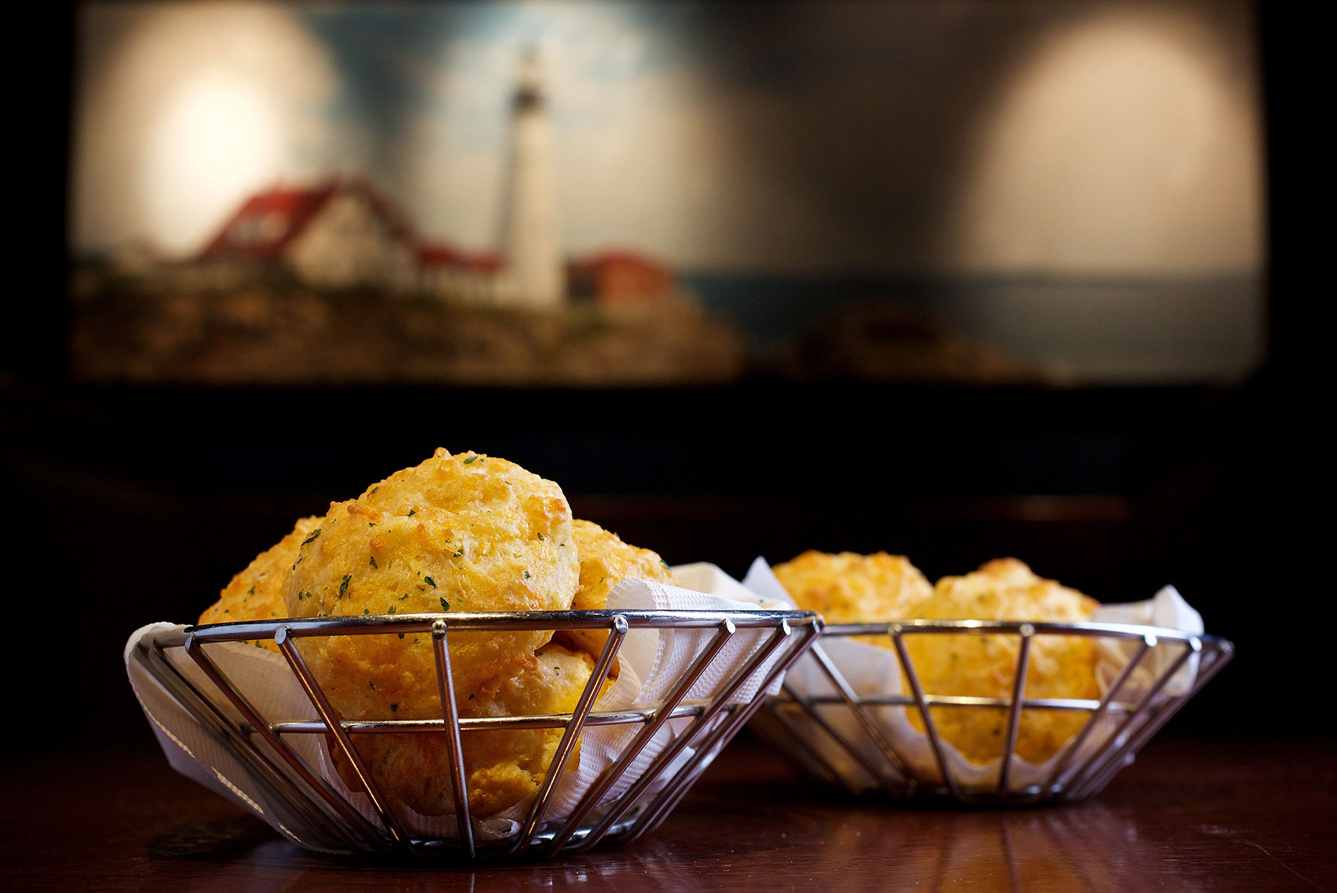 Baskets of cheddar bay biscuits at Red Lobster