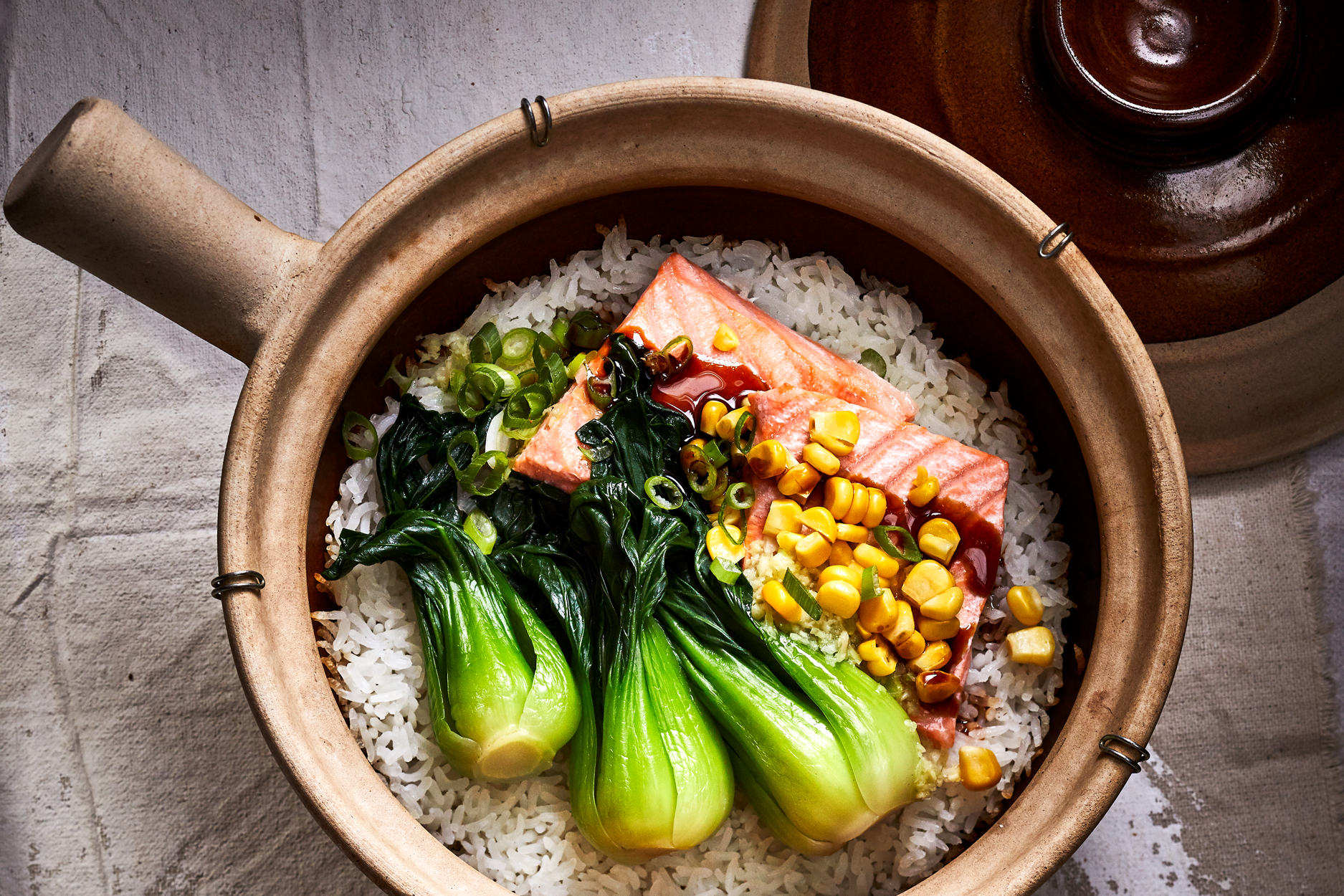 Clay Pot Ginger Crispy Rice with Salmon and Bok Choy Recipe