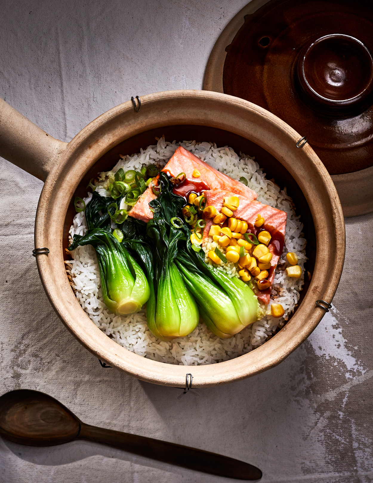 Crispy Rice with Salmon and Tok Choy Recipe