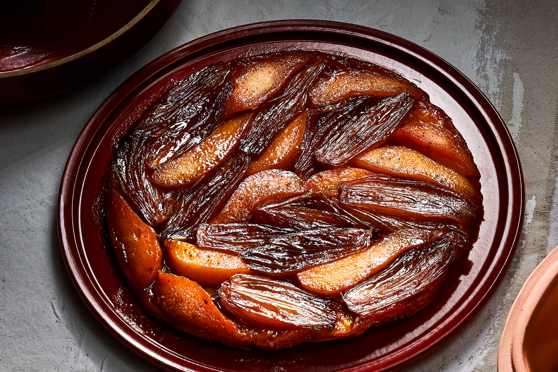 Pear and Shallot Tarte Tatin with Whipped Goat Cheese Recipe