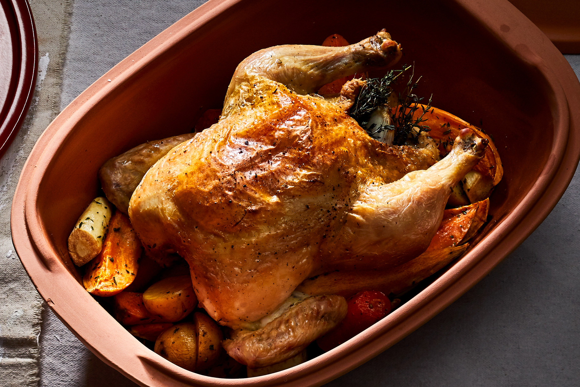 Romertopf Roasted Chicken and Root Vegetables Recipe
